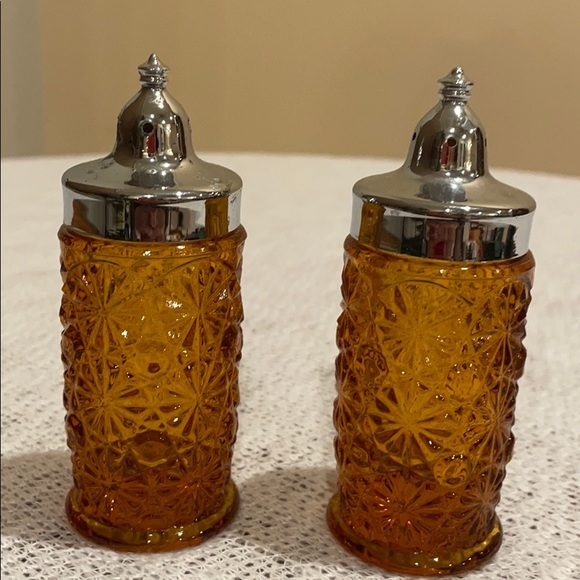 Vintage Amber Cut Glass Salt and Pepper Shakers